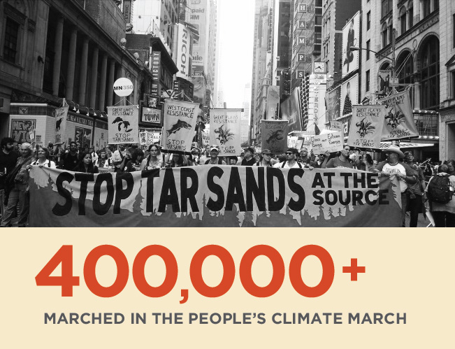 400,000+ people marched in the People's Climate March.