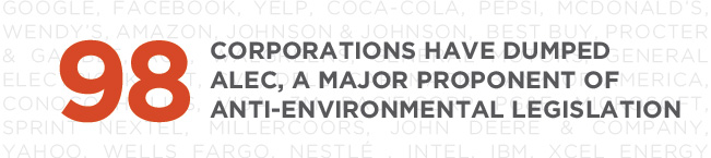 98 corporations have dumped ALEC, a major proponent of anti-environmental legislation.
