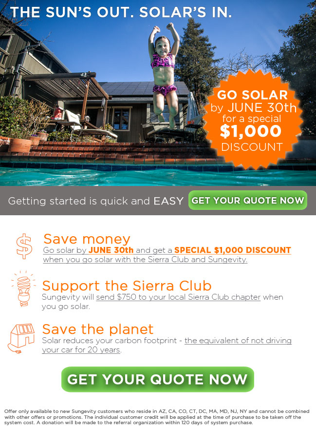 A special $1,000 discount! Go solar today!