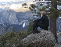 John Muir viewing waterfalls