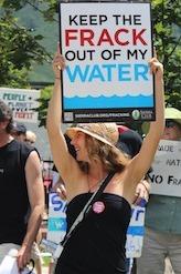 Image of Aspen fracking protest by Andrea Tudhope.