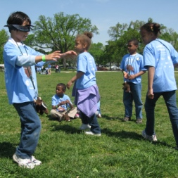 Boy playing tag