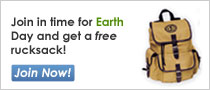Join in time for Earth Day and receive a free rucksack. Join now!