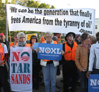 Protesters against the Keystone Pipeline