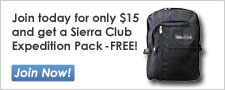 Join the Sierra Club for $15 and get a free backpack!