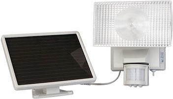 Motion-activated security lighting powered by solar panel po
