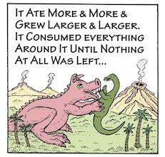 Pigosaurus cartoon (Panel 3), copyright Jim Anderson