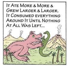 Pigosaurus cartoon (Panel 3), copyright Jim Anderson