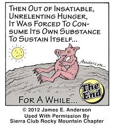 Pigosaurus cartoon (Panel 4), copyright Jim Anderson