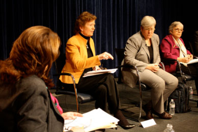 Former president of Ireland Mary Robinson talks as other panelists look on at the Aspen Event