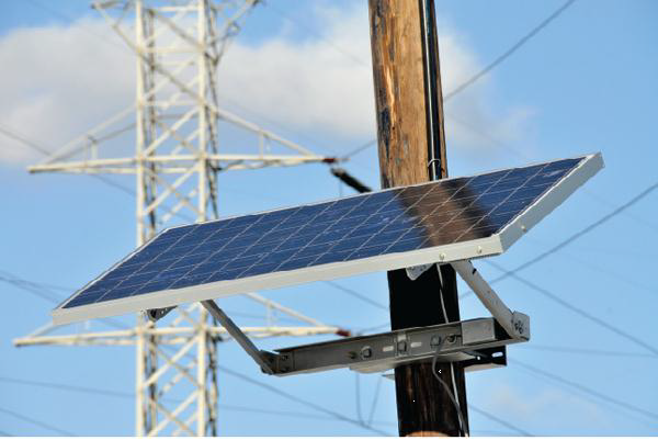 Solar panel mounted on telephone pole