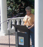 Dr. Donna Wear, Augusta State ecologist speaking at 350 Rally in